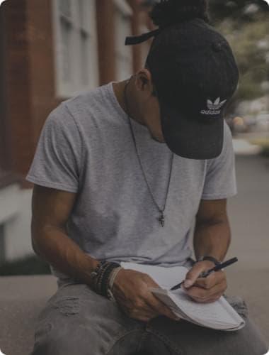 boy writting