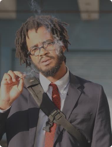 suit man smoking