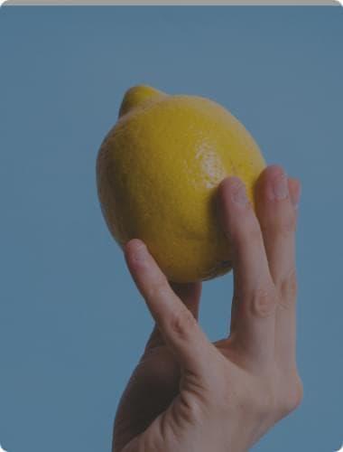 lemon and hand